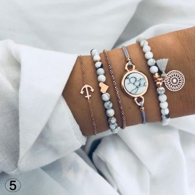 Tophus Tassel Bohemian Beads Bracelets 5-pack Gifts for Woman