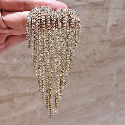 Shiny Rhinestones Fringe Brooches Woman Coat Pins