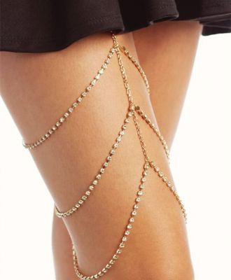 Sexy Rhinestones Leg Chain Layered Thigh Chain for Party