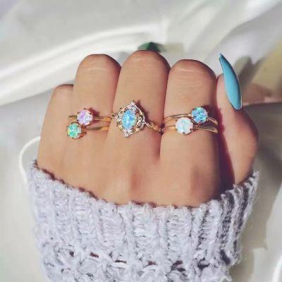 5 Pcs Multicolor Rhinestones Layering Midi Ring Cute Ring Sets
