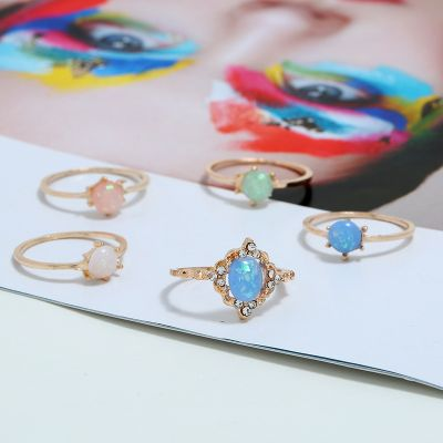 5 Pcs Multicolor Rhinestones Layering Midi Ring Cute Ring Sets