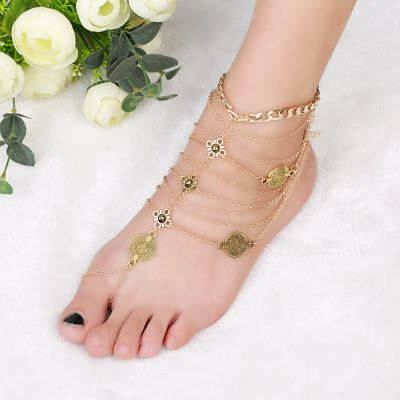 Bohemia Coins Anklet Toe Rings Layered Ankle Bracelets for Beach