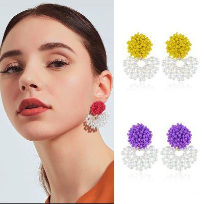 Pearls Drop Fan Earrings Boho Beads Statement Earring