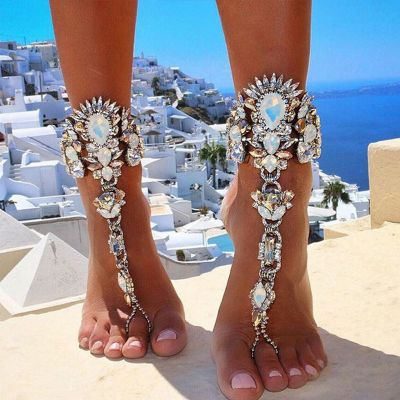 Luxury Alloy Crystals Anklet Ring Toe Beach Boho Ankle Bracelets