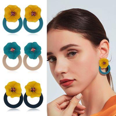Floral Hoop Earring Wedding Statement Earrings