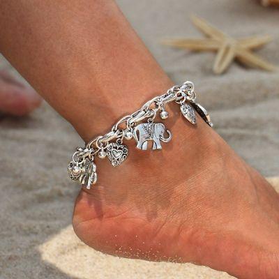 Elephant Hearts Charm Anklet Bracelets Beach Boho Bracelets