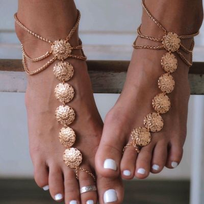 Boho Embossed Anklet Ring Toe Beach Ankle Bracelets as Gifts