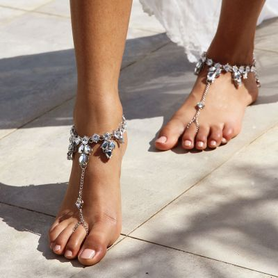Beach Boho Water Drop Crystals Ankle Ring Toe Foot Jewelry