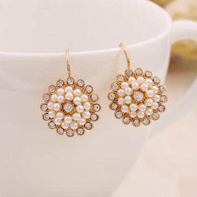 Floral Pearls Rhinestones Hoop Earrings for Wedding
