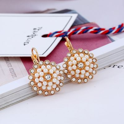 Floral Pearls Rhinestones Hoop Earrings for Wedding