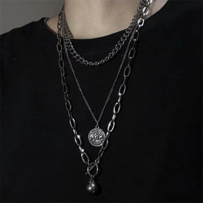 Alloy Punk Layered Coin Pendant Necklace for Man&Woman