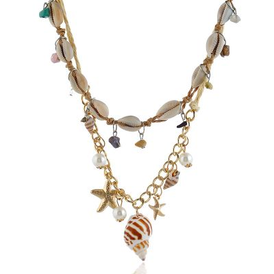 Shell and Pearls Natural Layered Necklace for Beach