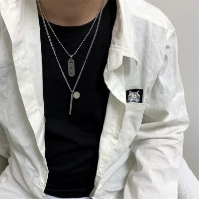Rock Pendants Carbon Steel Necklace for Women&Men Sweater Necklace