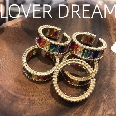 Cubic Zirconia Rainbow Rings Adjustable Multicolor Ring