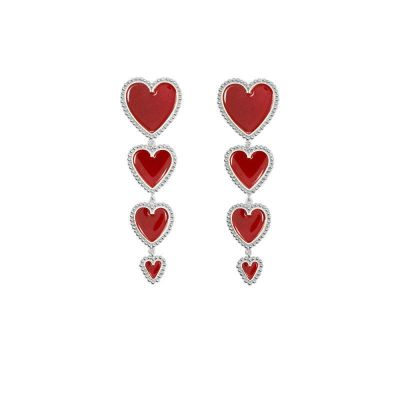 Heart Drop Dangle Earrings Cute Women Earring Silver