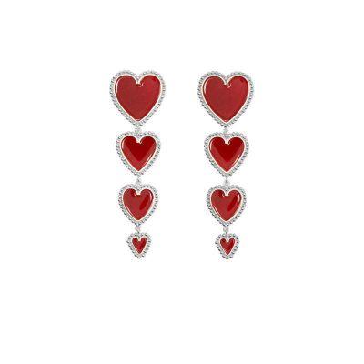 Heart Drop Dangle Earrings Cute Women Earring Silver
