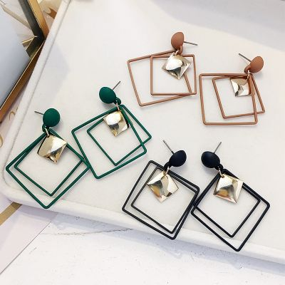 Resign Rhombus Dangle Earrings Big Geometric Earring