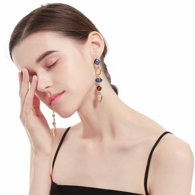 Multi-color Waterdrop Resign Drop Earrings Vintage Woman Earring