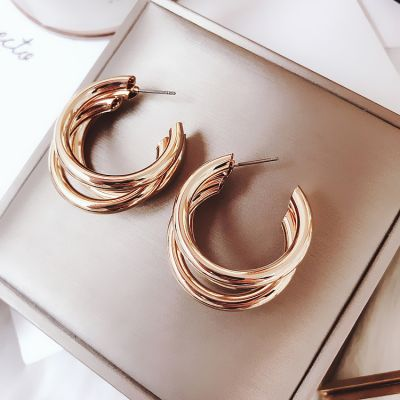 Punk Layered Triple Metal Hoop Earring for Party