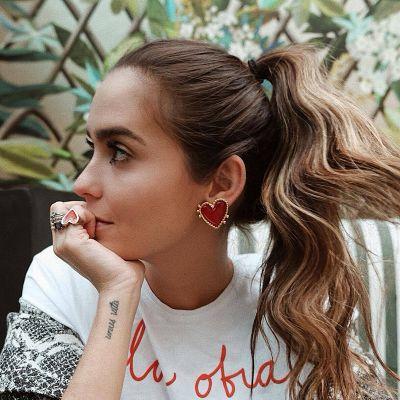 Big Heart Stud Earrings Bridal Earring