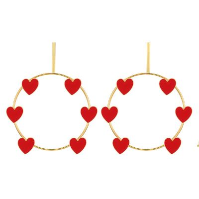 Hearts Big Hoop Earrings in Gold for Dating