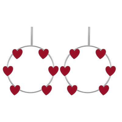 Hearts Big Hoop Earrings in Silver for Dating