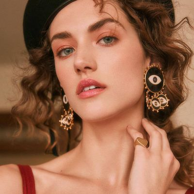 Multi Eyes Drop Earrings Statement Earring for Party