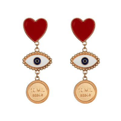 Heart Evil Eyes Dangle Drop Earring Street Statement Earring
