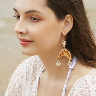Woven Rattan Shell Drop Earrings Boho Dangle Stament Earrings Style 1