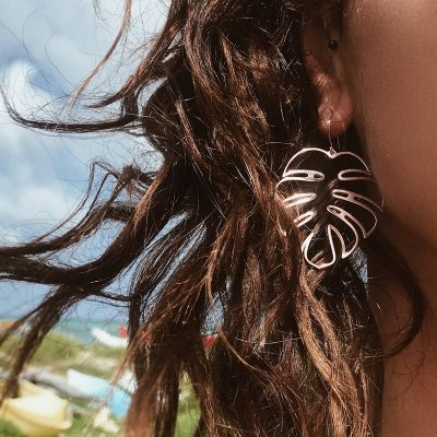 Gold Palm Leaf Dangle Drop Earrings for Beach in Gold
