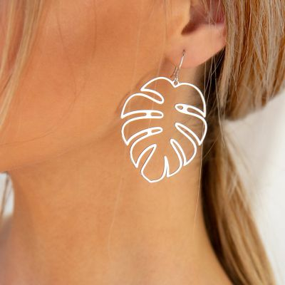 Gold Palm Leaf Dangle Drop Earrings for Beach in Silver