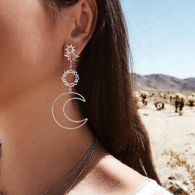 Moon Sum Dangle Earrings Boho Long Earring
