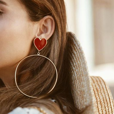 Heart Studded Dangle Hoop Earrings Cute Earring
