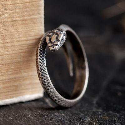 925 Silver Gothic Snake Adjustable Ring