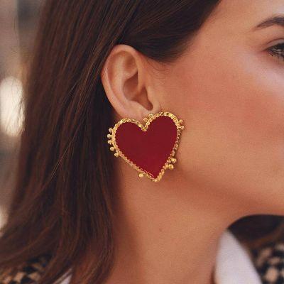 Red Heart Big Studded Earrings for Wedding