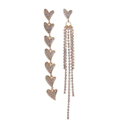 Heart Tassel Long Earrings Mismatched Earring