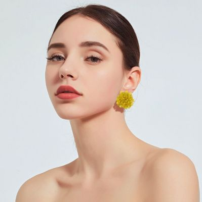 Beads Round Stud Earring Bohemian Piercing Post Statement Earrings