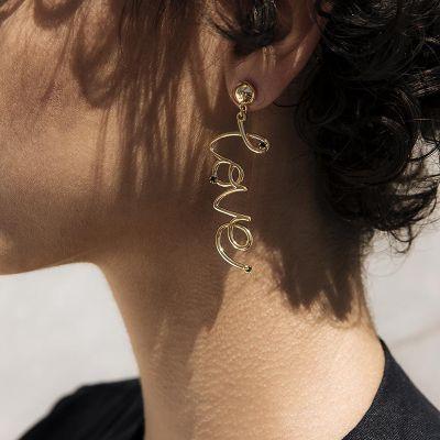 Gold Love Letter Dangle Drop Earrings