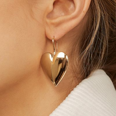 Gold Heart Dangle Drop Earring Hook Earrings