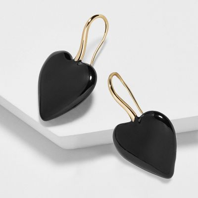 Black Heart Dangle Drop Earring Hook Earrings