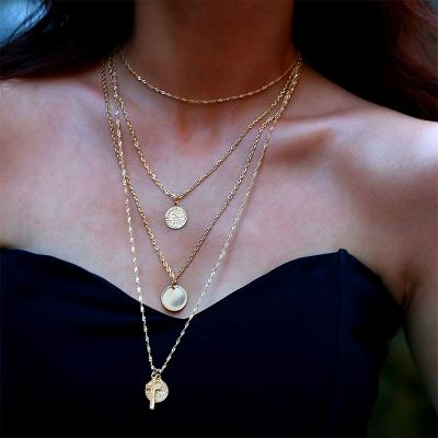 Gold Bohemia Cross Coins Pendant Multilayer Necklace Chain