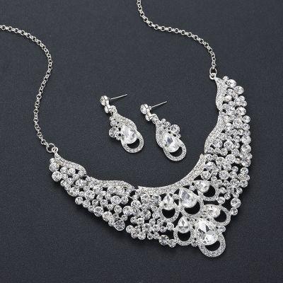 Wedding Rhinestones Ladies Jewelry Set Necklace and Earring Set