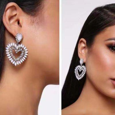 Acrycli Rhinestone Heart Earrings
