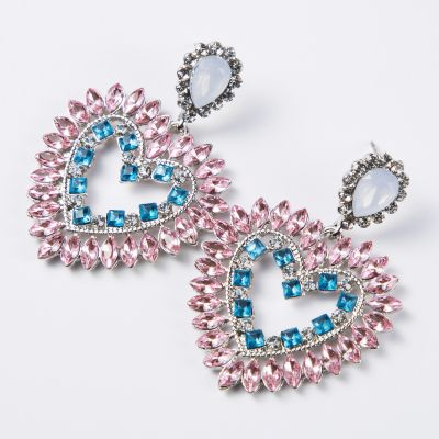 Acrycli Rhinestone Heart Earrings