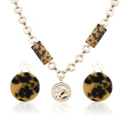 Brown Acrylic Leopard Earrings&Necklace Sets for Party