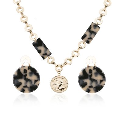 Khaki Acrylic Leopard Earrings&Necklace Sets for Party