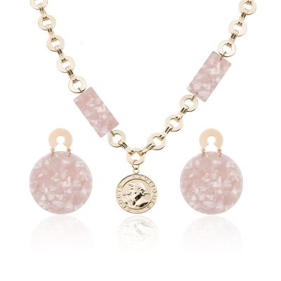 Acrylic Marble Earrings Necklace Sets Bridal Jewelry Sets in Pink
