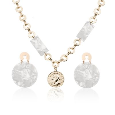 Acrylic Marble Earrings Necklace Sets Bridal Jewelry Sets in White