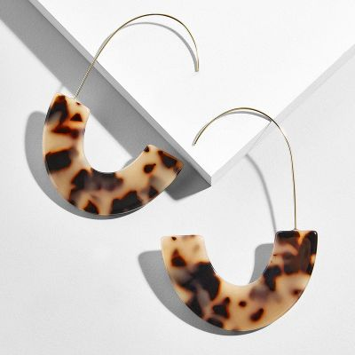 Acrylic Shell Earring Half-circle Tortoise Resign Earrings