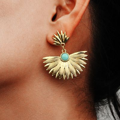 Alloy Boho Fan Dangle Earrings Travel Earring for Woman